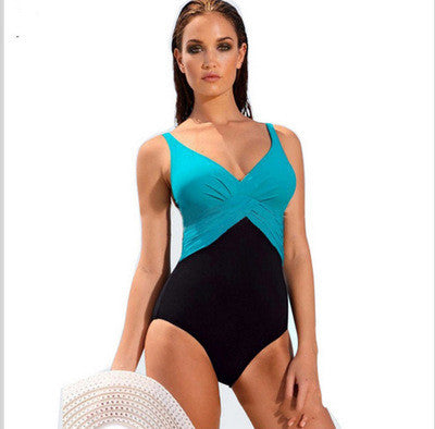 Contrast Color Spaghetti Strap Padded One Piece Swimwear