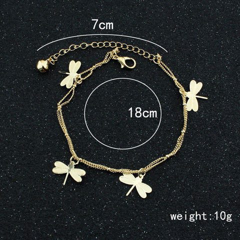 Dragonfly Bell Double Layer Anklet