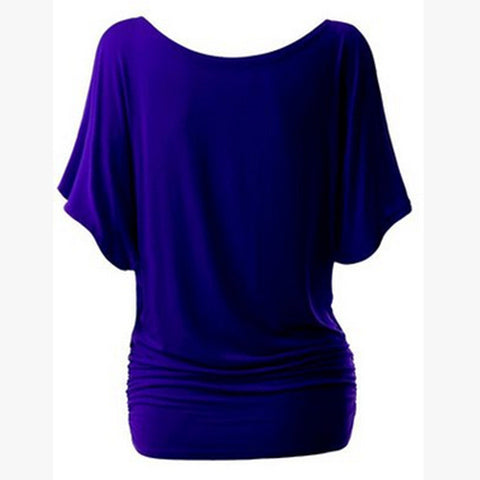 Pure Color Bat-wing Sleeves Scoop Bodycon Sexy T-shirt - Meet Yours Fashion - 6