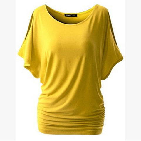 Pure Color Bat-wing Sleeves Scoop Bodycon Sexy T-shirt - Meet Yours Fashion - 9