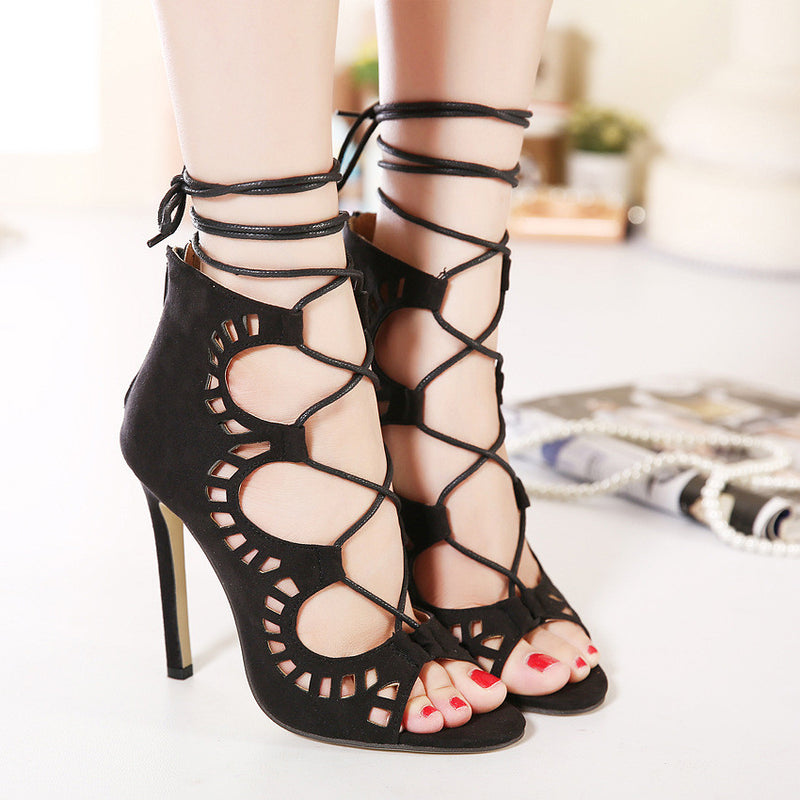Stiletto Suede Hollow Lace Up Strappy High Heel Peep Toe Shoes - MeetYoursFashion - 1