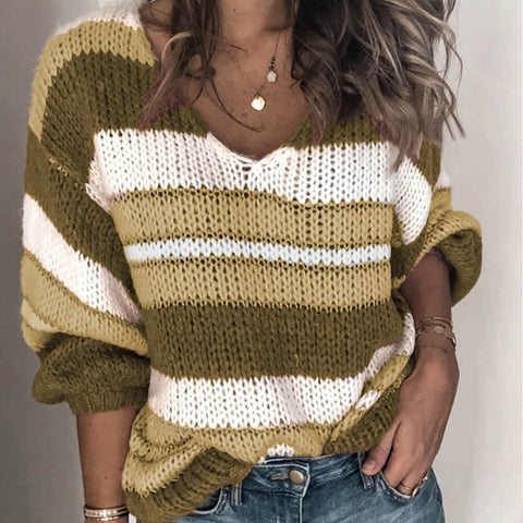 Oversized V Neck Colorblock Stripes Knit Sweater