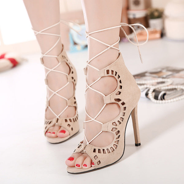 Stiletto Suede Hollow Lace Up Strappy High Heel Peep Toe Shoes - MeetYoursFashion - 3