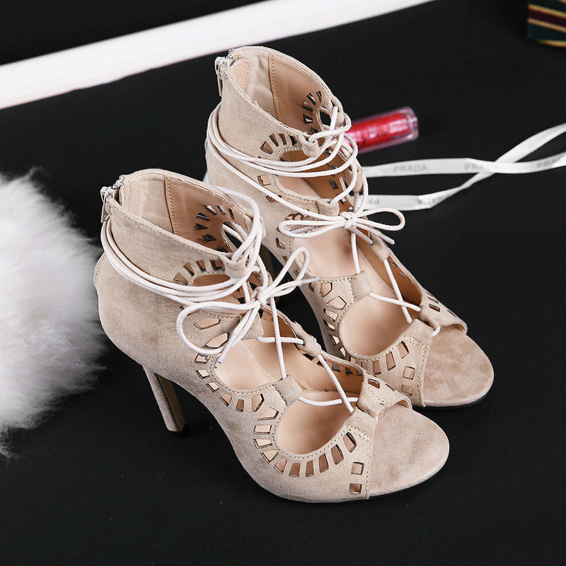 Stiletto Suede Hollow Lace Up Strappy High Heel Peep Toe Shoes - MeetYoursFashion - 6