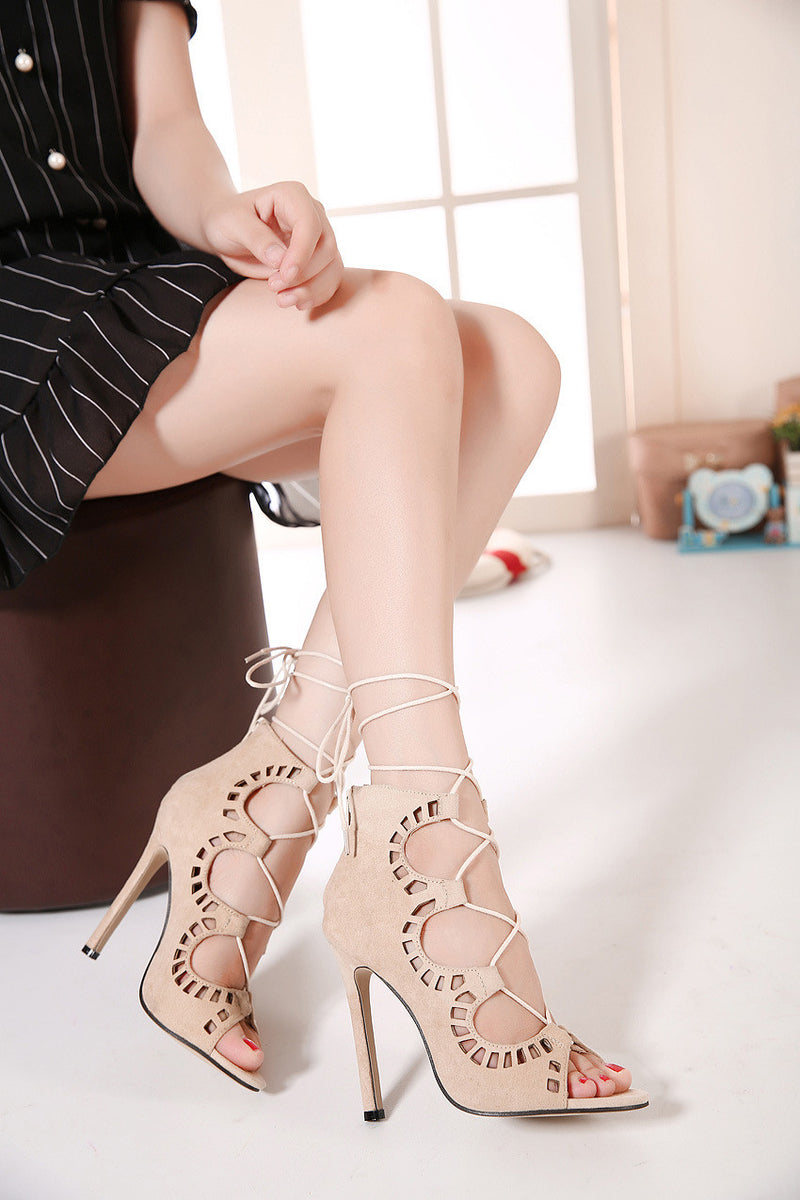 Stiletto Suede Hollow Lace Up Strappy High Heel Peep Toe Shoes - MeetYoursFashion - 5