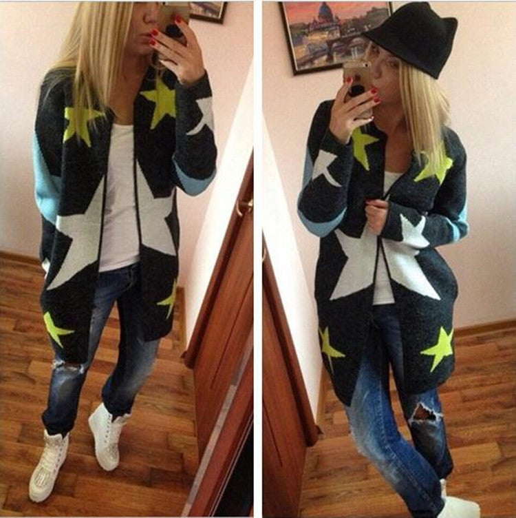 European Loose Long Cardigan Knit Print Sweater - Meet Yours Fashion - 2