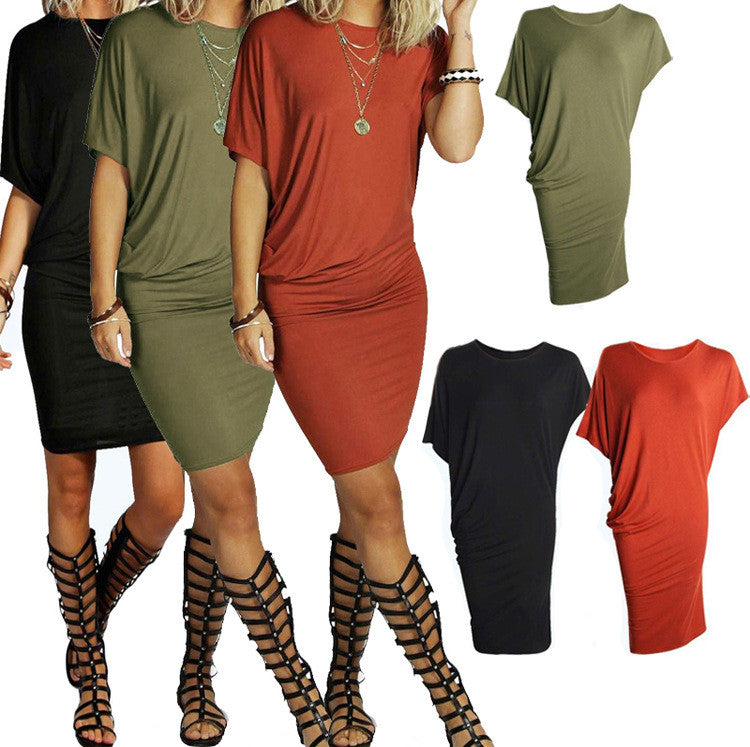 Asymmetric Short Sleeve Pure Color Sexy Bodycon Short Dress