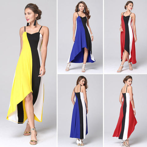 Spaghetti Strap Irregular Sleeveless Splicing Long Dress