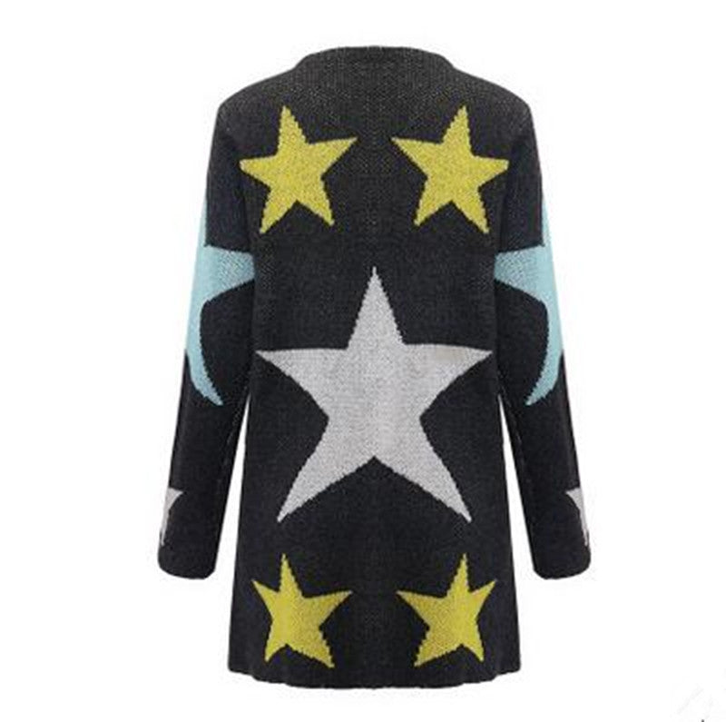 European Loose Long Cardigan Knit Print Sweater - Meet Yours Fashion - 3