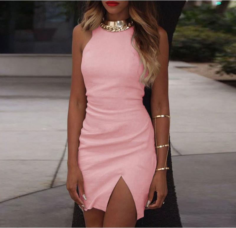 Bodycon Scoop Spilt Pure Color Tank Dress - Meet Yours Fashion - 5