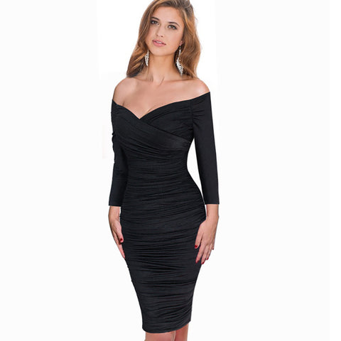 Sexy Wool Off Shoulder Slim Knee-length Dress