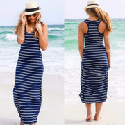 Striped Sleeveless Scoop Loose Long Beach Dress - Meet Yours Fashion - 2