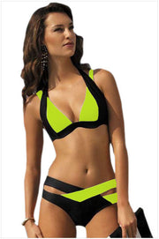 Contrast Color Patchwork Cross Hollow Out V-neck Bikini - Meet Yours Fashion - 5