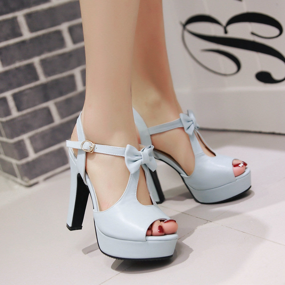 b453e7588f1 ... Cute Street Style Peep Toe Bow High Heel Sandals - MeetYoursFashion - 3  ...