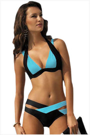 Contrast Color Patchwork Cross Hollow Out V-neck Bikini - Meet Yours Fashion - 4