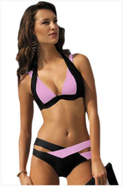 Contrast Color Patchwork Cross Hollow Out V-neck Bikini - Meet Yours Fashion - 6