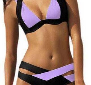 Contrast Color Patchwork Cross Hollow Out V-neck Bikini - Meet Yours Fashion - 7