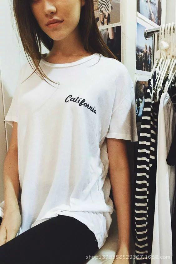 NY Letter Scoop Short Sleeves Pure Color T-shirt - Meet Yours Fashion - 4