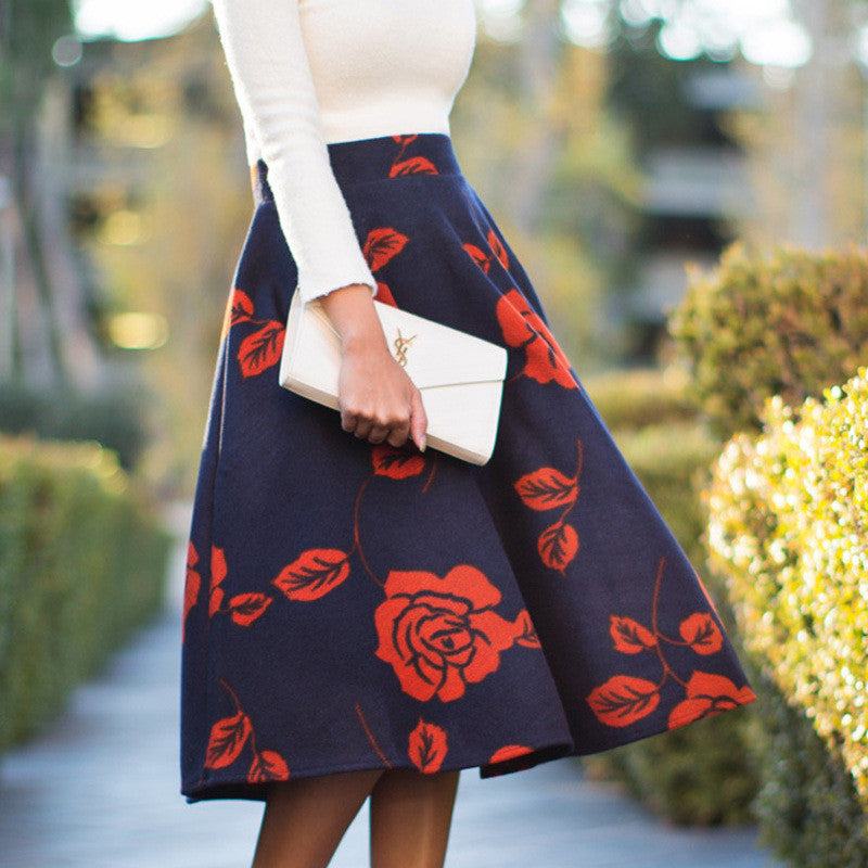 Fashion Rose Print High Waist Flared A-line Skirt