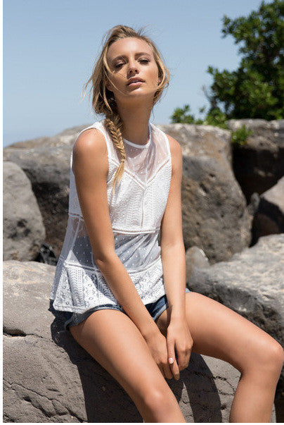 Transparent Organza Scoop Sleeveless Lace Patchwork Blouse - Meet Yours Fashion - 1