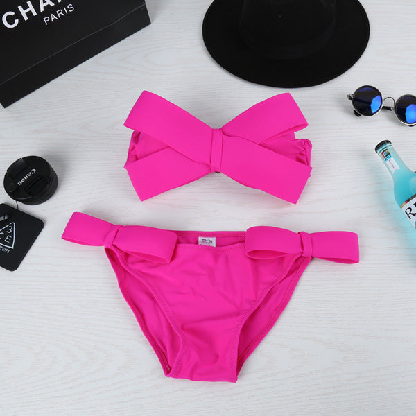 Big Bowknot Strapless Candy Color Two Pieces Swimwear Bikini