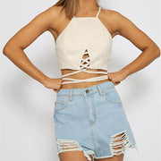 Faux Suede Spaghetti Strap Cross Wrap Crop Top Vests