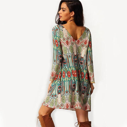 Print O-neck Open Back Long Sleeve Short Dress