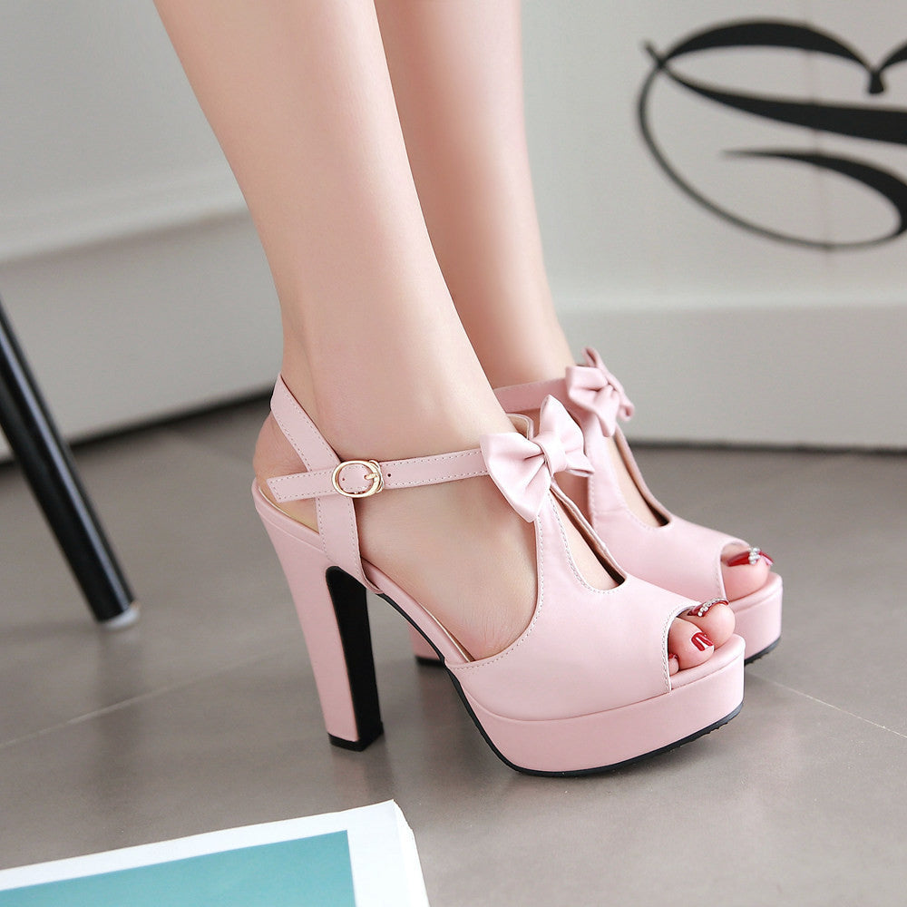 Cute Street Style Peep Toe Bow High Heel Sandals - MeetYoursFashion - 1
