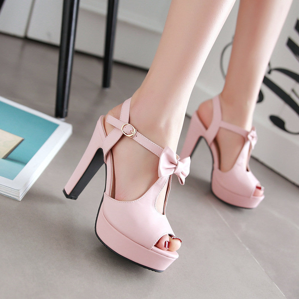 2cdc4501c6c Cute Street Style Peep Toe Bow High Heel Sandals – MeetYoursFashion