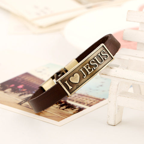 I Love Jesus Retro Alloy Leather Bracelet
