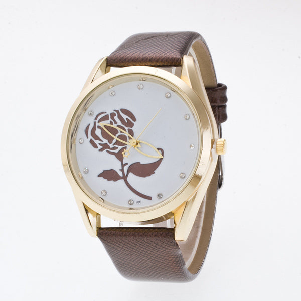 3D Rose Crystal Casual Watch