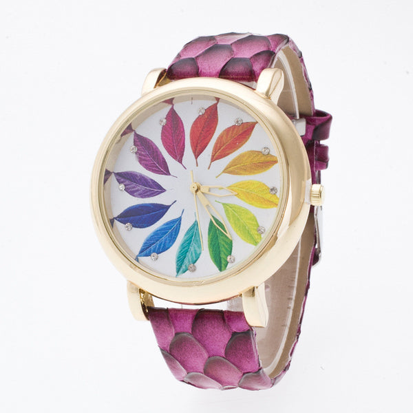 Colorful Leaves Surround Crystal 3D Watch