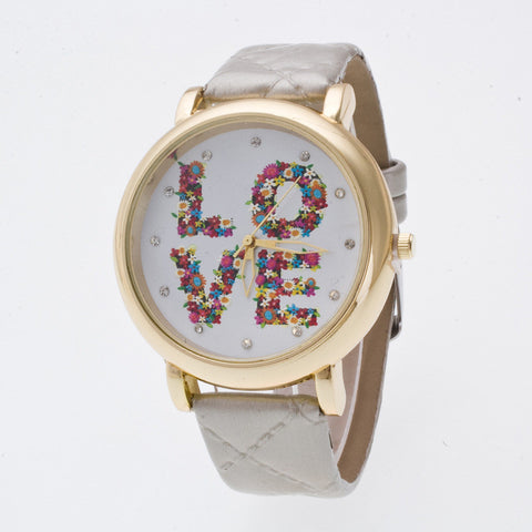 Flowers LOVE Crystal Dial Watch