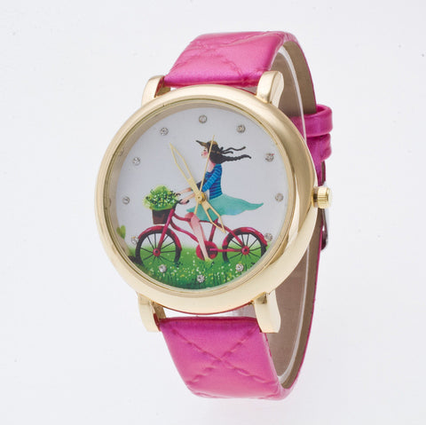 Sweet Bicycle Girl Crystal Watch