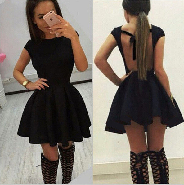 Backless Bow-Knot A-line Short Pleated Skater Dress