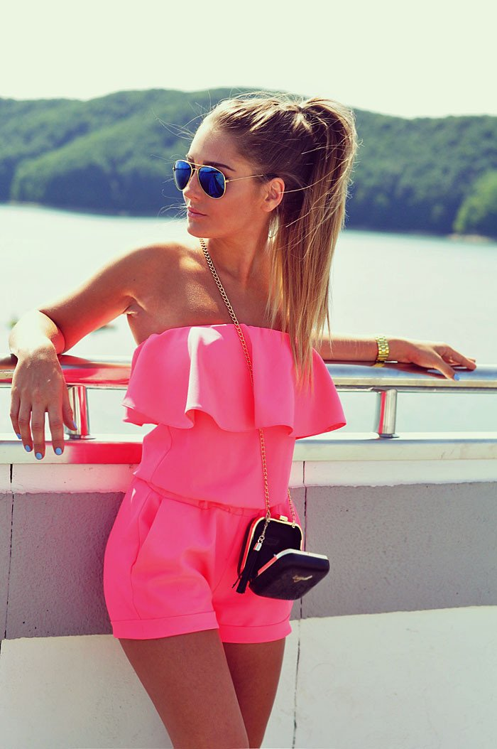 Sexy Pure Candy Color Patchwork British Style Strapless Jumpsuits - Meet Yours Fashion - 3