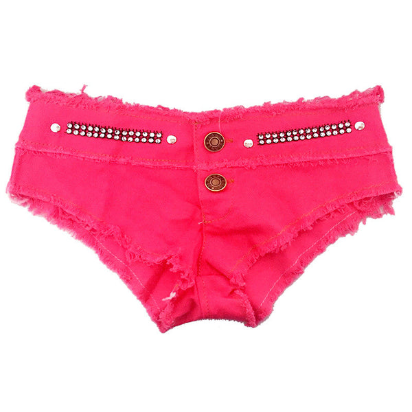 Crystal Low Waist Pure Color Sexy Shorts