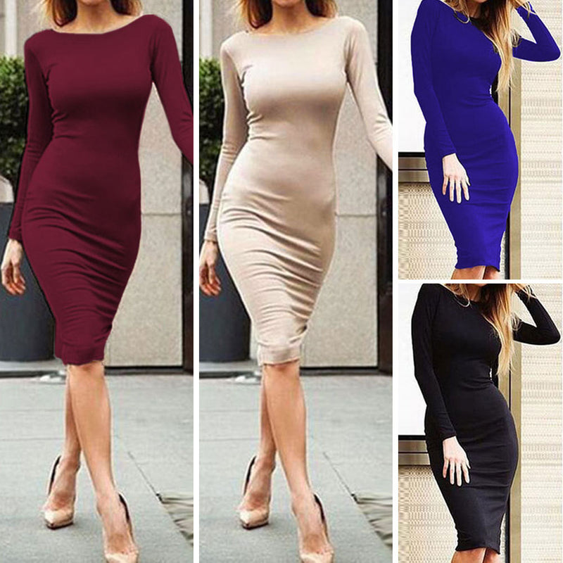 Pure Color Slim Backless Long Sleeve Long Dress - Meet Yours Fashion - 8