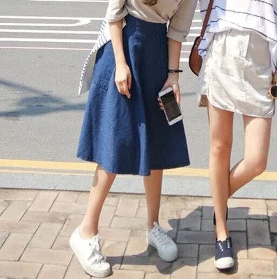 A-line Flared Pleated Slim Denim Middle Skirt - Meet Yours Fashion - 5