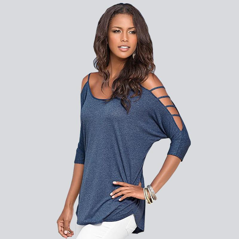 Hollow Out Scoop Pure Color 3/4 Sleeves T-shirt - Meet Yours Fashion - 5