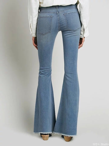 Fashion Low Waist Sanding Big Bell Bottoms Pants
