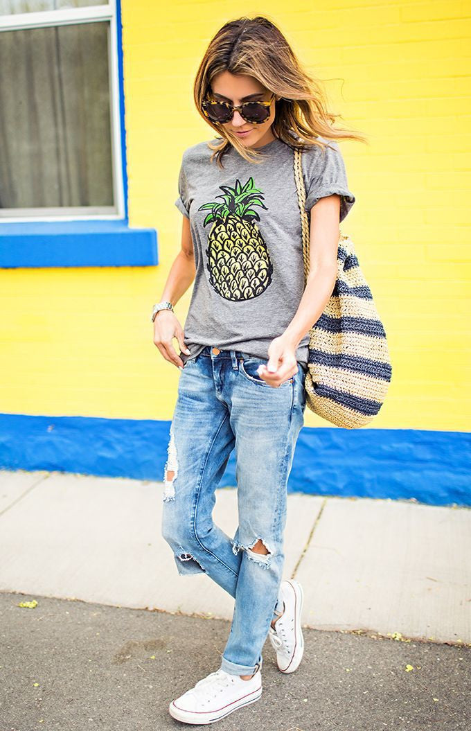 Scoop Fruit Flower Print Slim Fashion T-shirt