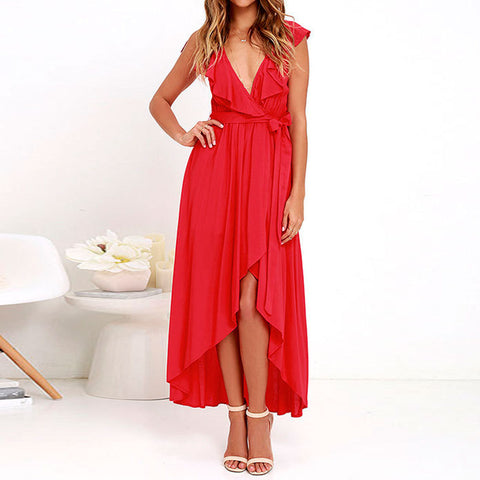 Chiffon Deep V-neck Sleeveless Irregular Long Dress - Meet Yours Fashion - 5