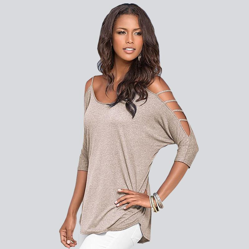 Hollow Out Scoop Pure Color 3/4 Sleeves T-shirt - Meet Yours Fashion - 3
