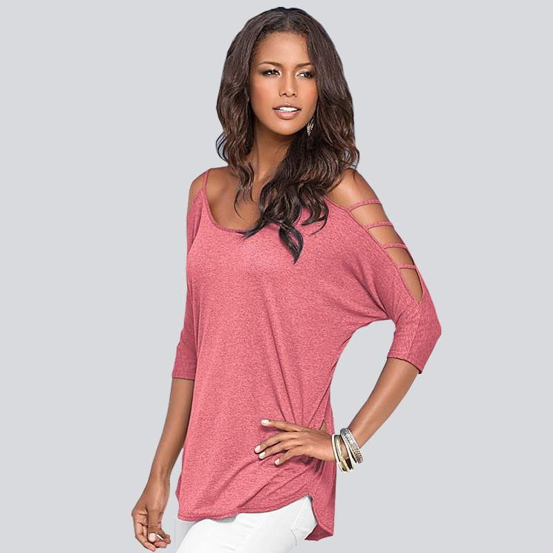 Hollow Out Scoop Pure Color 3/4 Sleeves T-shirt - Meet Yours Fashion - 6