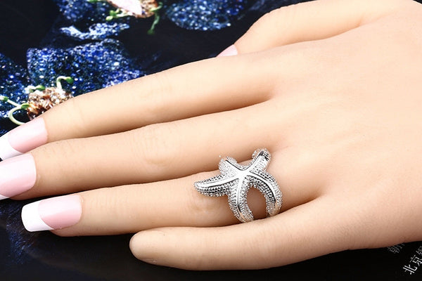 Fashion big starfish ring
