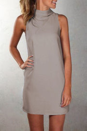 Pure Color Sexy O-neck Sleeveless Short Dress - Meet Yours Fashion - 4