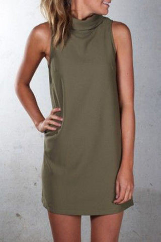 Pure Color Sexy O-neck Sleeveless Short Dress - Meet Yours Fashion - 5