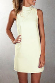Pure Color Sexy O-neck Sleeveless Short Dress - Meet Yours Fashion - 1