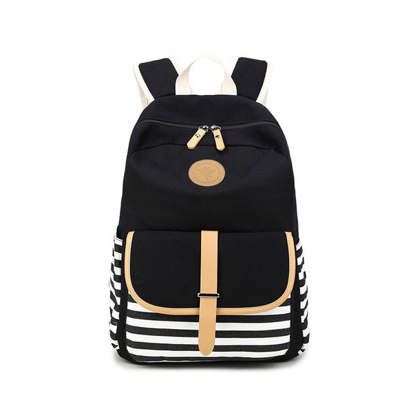 Stripe Print Canvas Backpack School Travel Bag - Meet Yours Fashion - 2